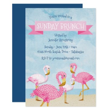 Beach Themed Pink Flamingo Sunday Brunch Party Card