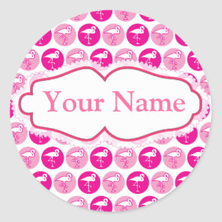 Pink flamingo theme sticker