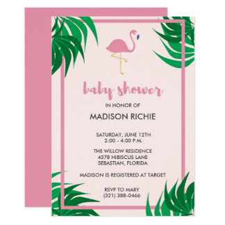 Pink Flamingo Tropical Baby Shower Invitation