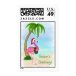 Pink Flamingo Tropical Christmas Postage