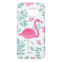 Pink Flamingo & Tropical Flowers Pattern GS7 Samsung Galaxy S7 Case