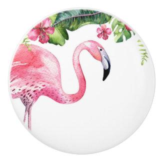 Pink Flamingo Tropical Hibiscus Island Summer Ceramic Knob
