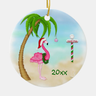 Pink Flamingo Tropical Holiday Ceramic Ornament