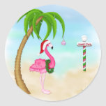 Pink Flamingo Tropical Holiday Classic Round Sticker