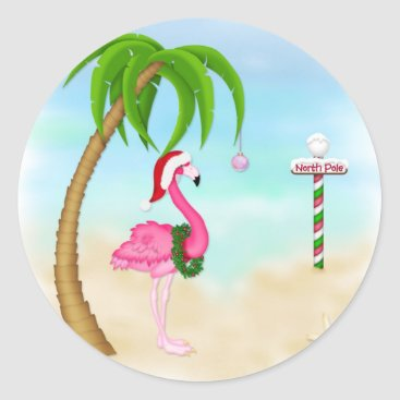 Beach Themed Pink Flamingo Tropical Holiday Classic Round Sticker