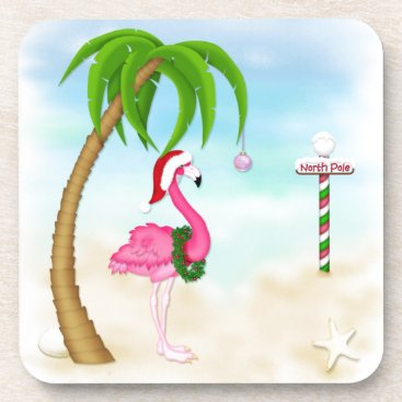 Beach Themed Pink Flamingo Tropical Holiday Coasters