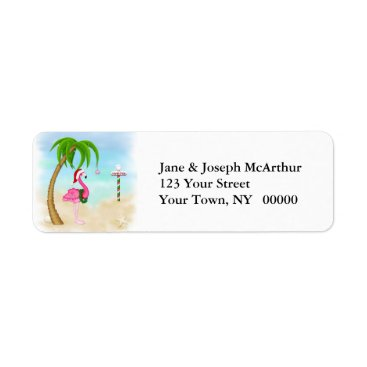 Beach Themed Pink Flamingo Tropical Holiday Label
