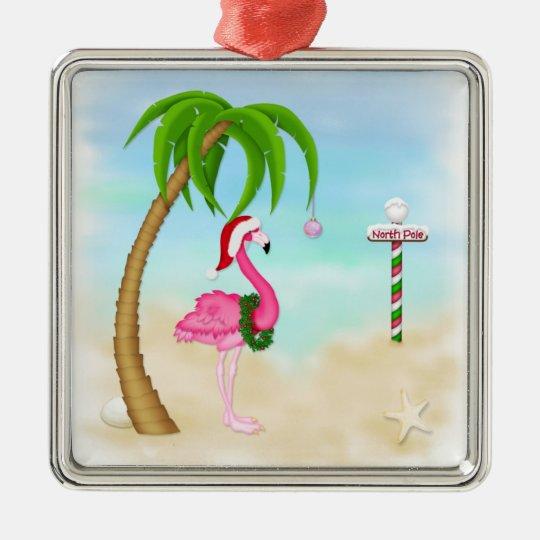 Pink Flamingo Tropical Holiday Ornament