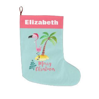 Pink Flamingo Tropical Island Christmas Large Christmas Stocking