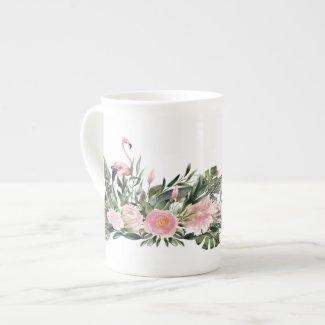 Pink Flamingo Tropical Leaf Trim Bone China Mug