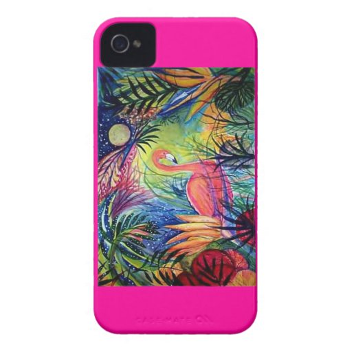 Pink Flamingo Tropical Moonlight iPhone 4 Covers