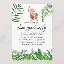 Pink Flamingo Tropical Watercolor Luau Graduation Announcement