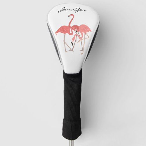 Pink Flamingo Tropical with Custom Monogram Golf Head Cover