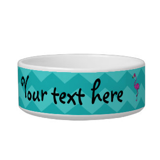 Pink flamingo turquoise chevrons bowl