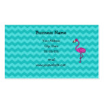Pink flamingo turquoise chevrons business card template