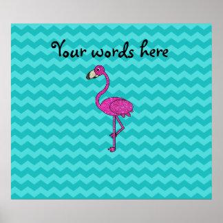 Pink flamingo turquoise chevrons poster