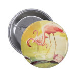 Pink Flamingo Vintage Poster for Brazil Button