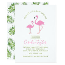 Pink Flamingo Watercolor Baby Shower Card