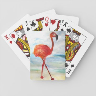 Beach Themed Pink Flamingo Watercolor Classic Playing Cards