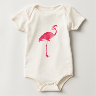 Pink Flamingo Watercolor Silhouette Florida Birds Baby Bodysuit