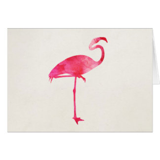 Pink Flamingo Watercolor Silhouette Florida Birds Greeting Card