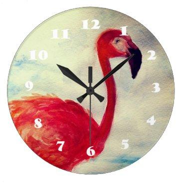Beach Themed Pink Flamingo Watercolor  Wall Clock