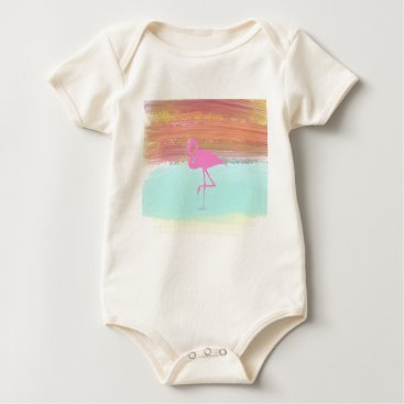 Beach Themed Pink Flamingo Watercolour Beach  Style Design Baby Bodysuit