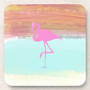 Beach Themed Pink Flamingo Watercolour Beach  Style Design Beverage Coaster