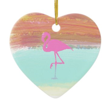 Beach Themed Pink Flamingo Watercolour Beach  Style Design Ceramic Ornament