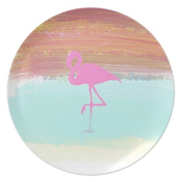 Beach Themed Pink Flamingo Watercolour Beach  Style Design Dinner Plate