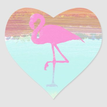 Beach Themed Pink Flamingo Watercolour Beach  Style Design Heart Sticker