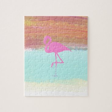 Beach Themed Pink Flamingo Watercolour Beach  Style Design Jigsaw Puzzle