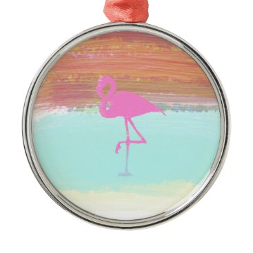 Beach Themed Pink Flamingo Watercolour Beach  Style Design Metal Ornament
