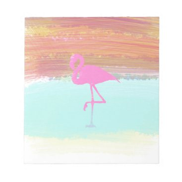 Beach Themed Pink Flamingo Watercolour Beach  Style Design Notepad