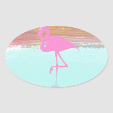 Beach Themed Pink Flamingo Watercolour Beach  Style Design Oval Sticker
