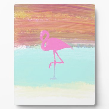 Beach Themed Pink Flamingo Watercolour Beach  Style Design Plaque