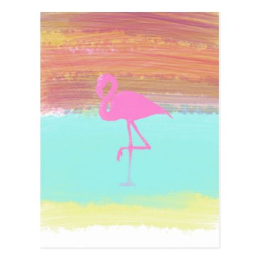 Beach Themed Pink Flamingo Watercolour Beach  Style Design Postcard