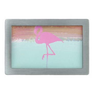 Beach Themed Pink Flamingo Watercolour Beach  Style Design Rectangular Belt Buckle