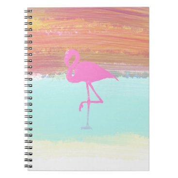 Beach Themed Pink Flamingo Watercolour Beach  Style Design Spiral Notebook
