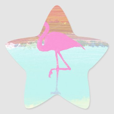 Beach Themed Pink Flamingo Watercolour Beach  Style Design Star Sticker