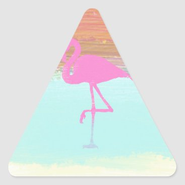 Beach Themed Pink Flamingo Watercolour Beach  Style Design Triangle Sticker