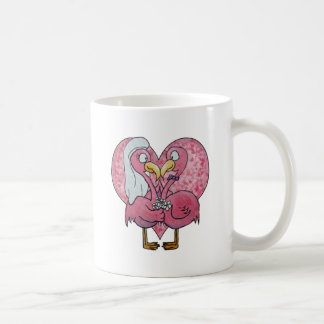 Pink Flamingo Wedding Couple Pair Watercolor Coffee Mug