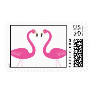 Pink Flamingo Wedding Stamp