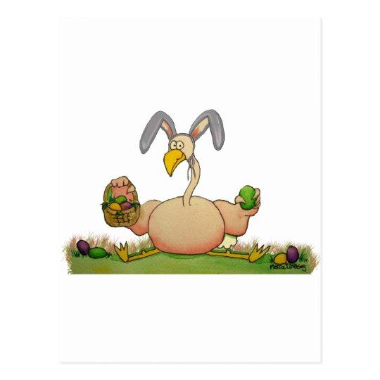 Pink Flamingo Whimsical Bird As Easter Bunny Postcard
