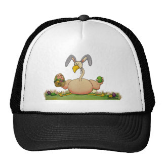 Pink Flamingo Whimsical Bird As Easter Bunny Trucker Hat