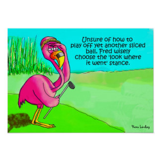 Pink Flamingo Whimsical Golf Ball Lost Humor Poste Poster