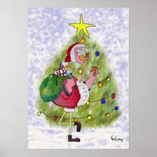 Pink Flamingo Whimsical Merry Christmas Poster