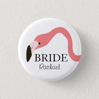 Pink Flamingo Whimsy Bride Pinback Button