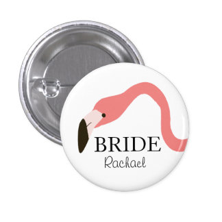 Pink Flamingo Whimsy Bride Pinback Button