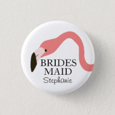 Pink Flamingo Whimsy Bridesmaid Button